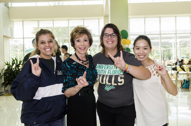 USF System President Judy Genshaft greets students on the first day of class in August 2015.