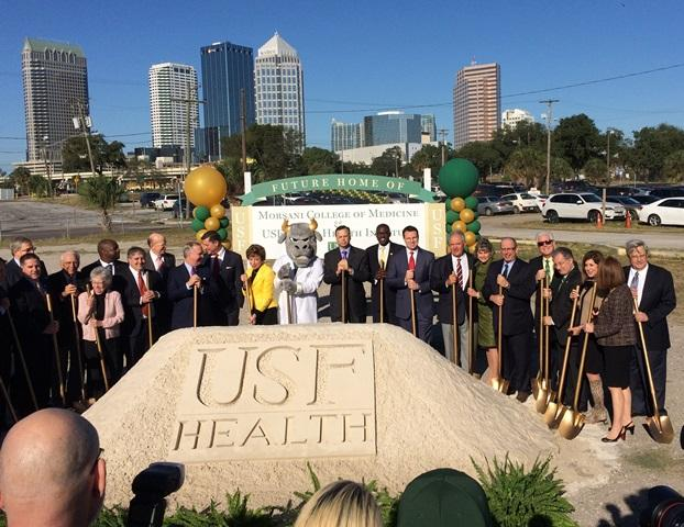 USF and USF Health officials, joined by Jeff Vinik and other Tampa leaders, break ground on the USF Health Morsani College of Medicine in downtown Tampa in December 2015.
