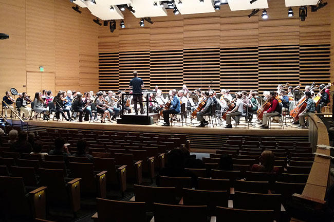 The Florida Orchestra and USF Symphony Orchestra performed together during TFO's visit to the USF Tampa campus.