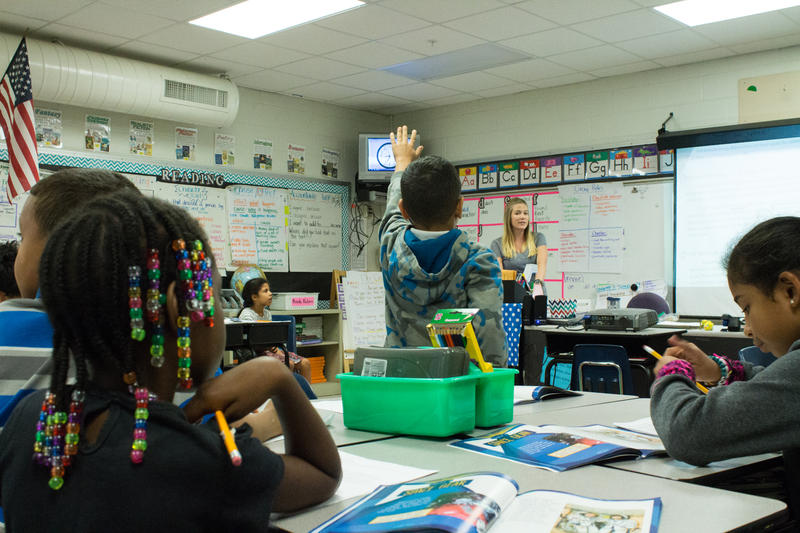 Tabitha White teaches science to her second grade class. A number of community busineeses and non-profits are offering resources to Mort Elementary School as it transitions to becoming a community school.