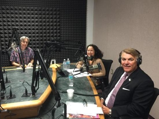 WUSF's Carson Cooper, Florida SBDC's Eileen Rodgriguez and Port Tampa Bay CEO Paul Anderson.