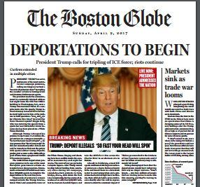 This is a screen grab of The Boston Globe editorial board's four-page fake newspaper it published to share its opinions toward presidential candidate Donald Trump.