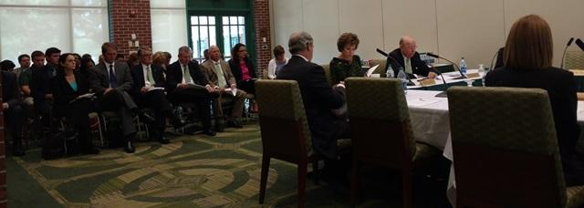 USF Trustees meet Tuesday while a crowd looks on at the USF Gibbons Alumni Center.