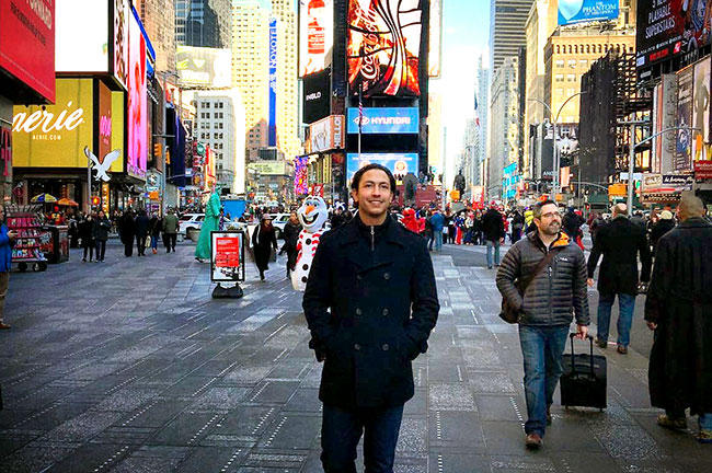 Recent USF graduate Ahmed Mohamed in New York City's Times Square in 2015.