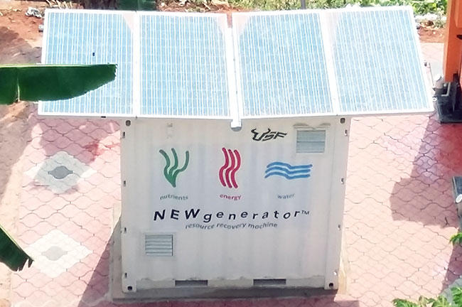 Solar panels on the roof of the NEWgenerator keep the batteries in the device running.