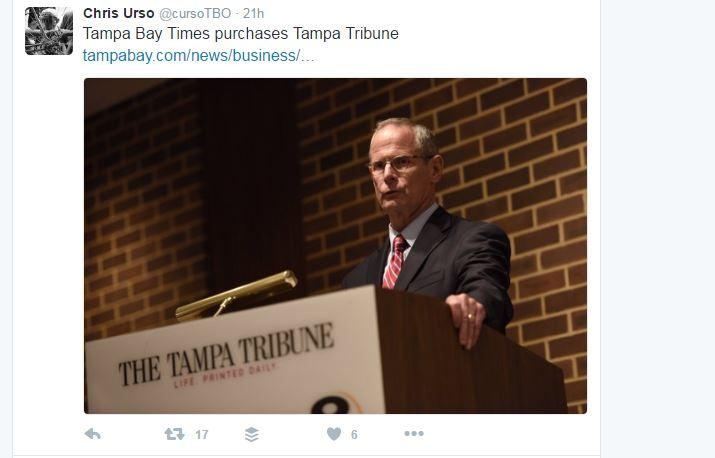 Times chairman and CEO Paul Tash informed employees of The Tampa Tribune of the sale on Tuesday.