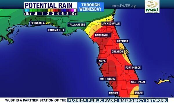 Rainfall predictions through Wednesday.
