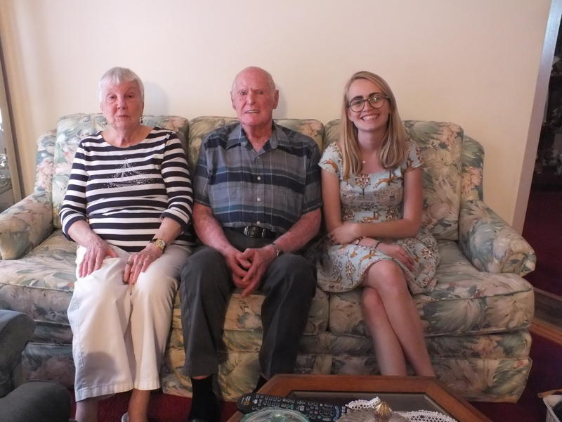 Charlotte Chalcraft, Albert (Bruce) Chalcraft and history student Konner Ross at the Chalcrafts' home.