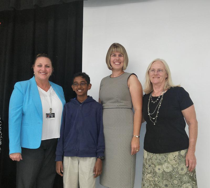 Williams Middle Magnet principal, Arlene Castelli, Rishi Nair, Lincoln Magnet Elementary principal Jennifer West and teacher, Christine Perez