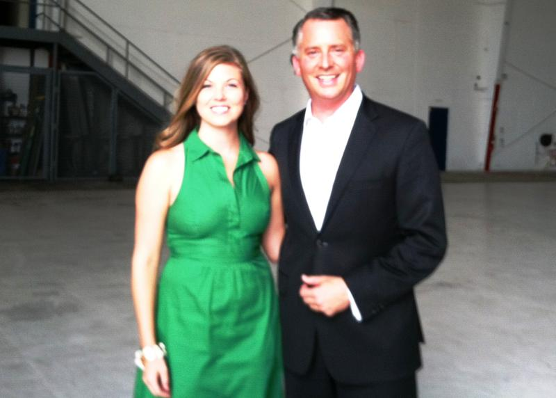 Laura Donahue, spouse, and U.S. Rep. David Jolly after his announcement to seek re-election and drop out of the U.S. Senate race.