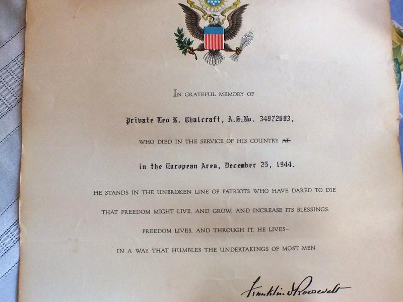 A letter of sympathy from President Franklin D. Roosevelt.