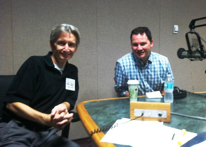Florida Matters Host Carson Cooper, left, and Rays President Brian Auld, right, after recording their Florida Matters Newsmaker Show.