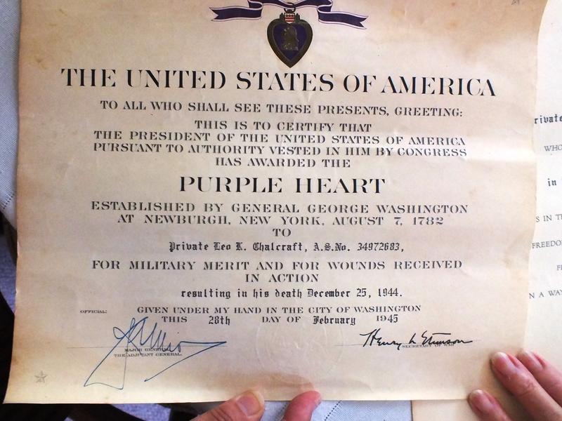 The citation for Leo Chalcraft's Purple Heart.