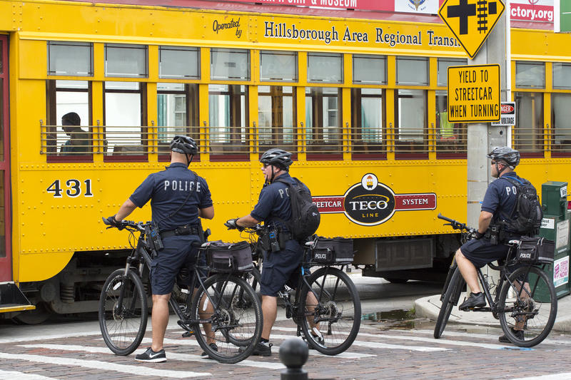 Tampa  purchased 200 bicycles for their officers to use. The bicycles are an effective means to curbing traffic and deterring individuals from trying to break through a blockade.