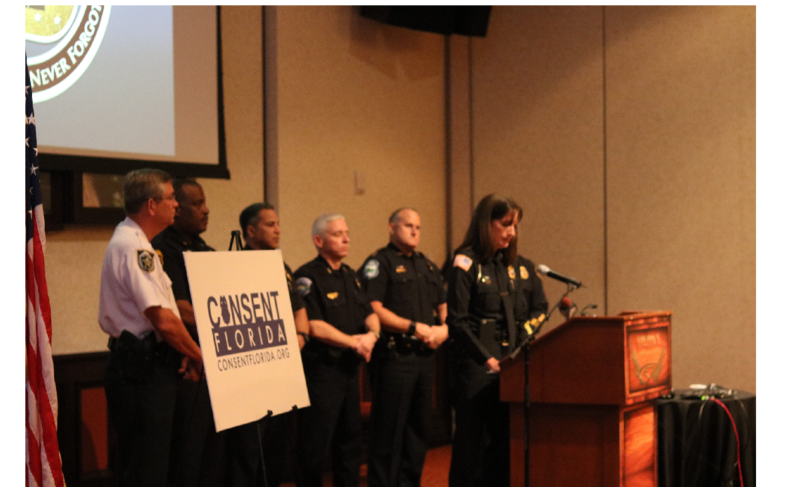 Bradenton Police Chief Melanie Bevan announces Consent Floria, a new campaign to end rape.