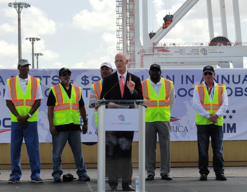 Gov. Scott addresses the crowd at the port