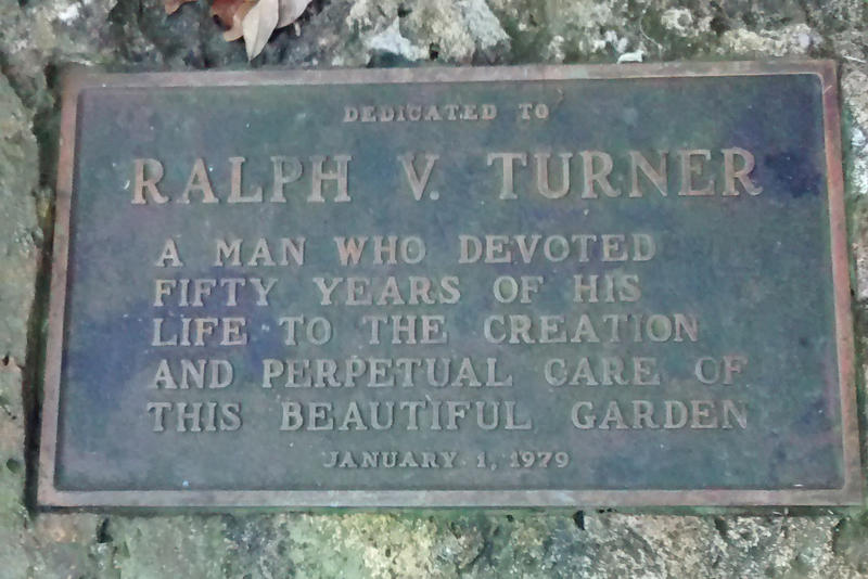 Plaque commemorating George Turner, the founder of Sunken Gardens