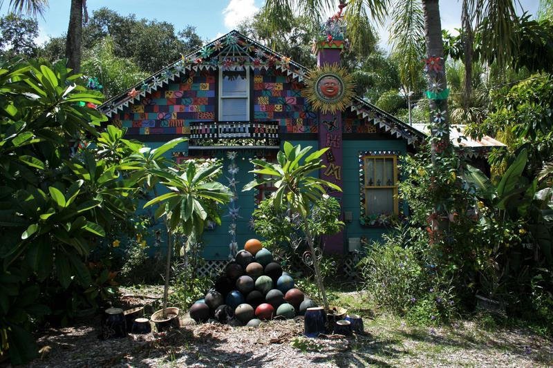 Whimzeyland features plexiglas sculptures, paintings, bottle trees, recycled material sculptures, and, of course, bowling balls.