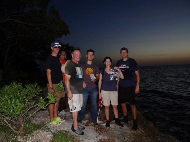 The land team pose for a photo along Campeche Bay.