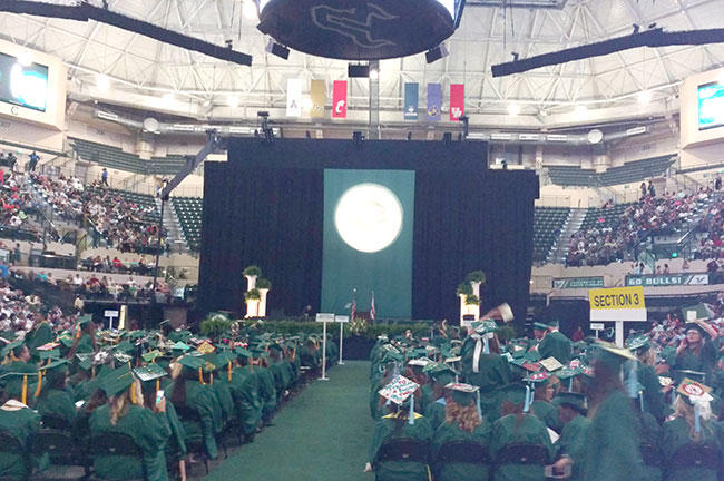 Students at a commencement ceremony in the USF Sun Dome in May 2016.