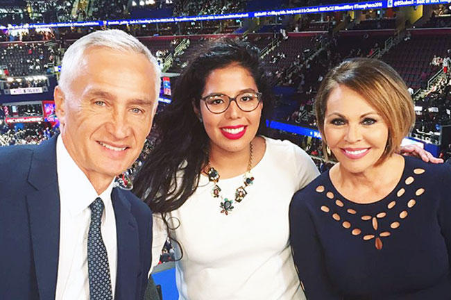 Ramírez and Noticiero Univision news anchors Jorge Ramos and Maria Elena Salinas. Ramírez served as a production assistant for Univision during the RNC.