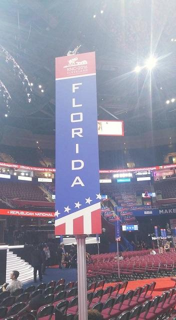 The Florida GOP delegation was front and center on the arena floor.