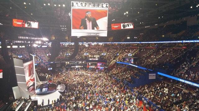The delegate floor view during the first day of the convention.