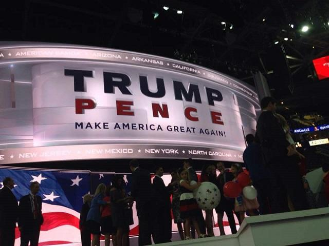 The center stage of the arena after nominee Donald Trump's acceptance speech.