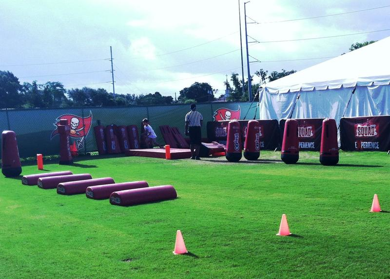"The ""kids"" obstacle course that includes a chance to tackle a padded dummy."