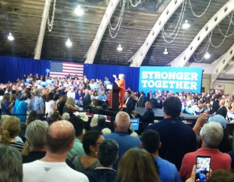 Hillary Clinton takes to the stage at the Coliseum in St. Petersburg