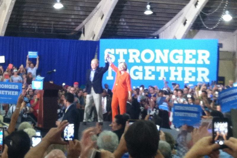 U.S. Sen. Bill Nelson joins Hillary Clinton on stage