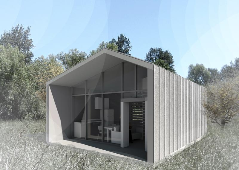 An elevation drawing of one of the three USF student custom designed tiny homes for veterans.