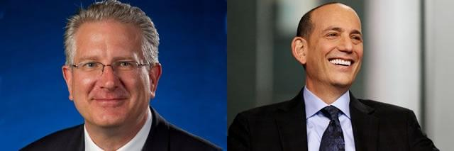 NFL COO Tod Leiweke (left) and MLS Commissioner Don Garber will speak at USF on October 26.