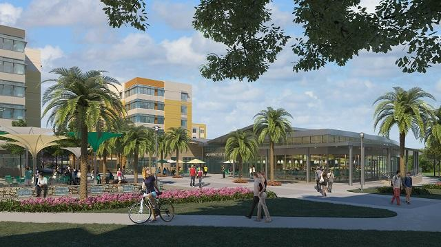 "A rendering of The Village shows the dining facility named ""The Hub."""