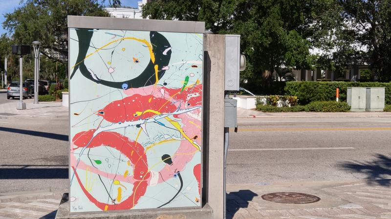 "Artist Ray Paul's signal box ""Tour,"" is on the corner of Drew St. and Osceola"