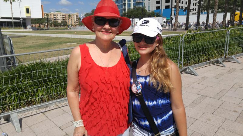 Beryl Byles of Tampa and her 12-year old granddaughter Sarah Katt came to hear Clinton speak