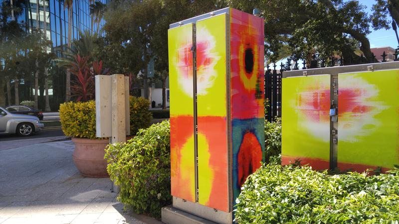 "Artist Tim Boatright's signal box ""Bright  Squares,"" is on Cleveland St ."