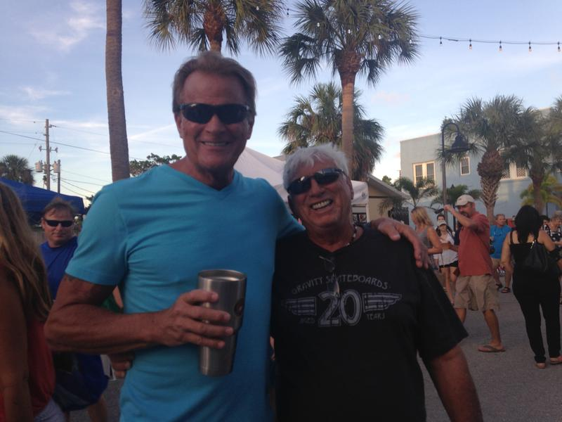 Peter Brown, left, and a longtime friend at a recent Pass-A-Grille Beach community party.
