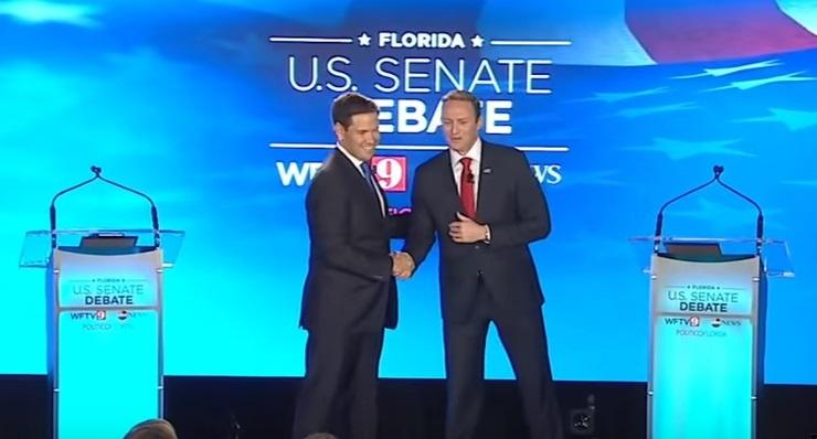 Sen. Marco Rubio, left, and U.S. Rep. Patrick Murphy at Monday night's debate in Orlando