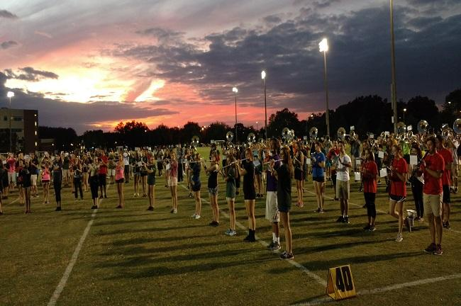 USF Herd of Thunder practices at sunset on October 10, 2016.