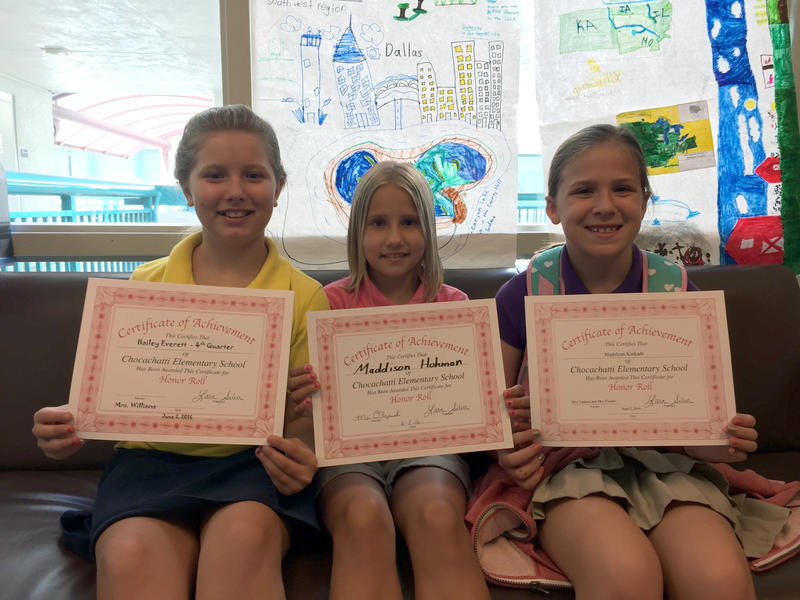 Third-graders Hailey Everett, Maddison Hohman, and Madelynn Kinkade were not promoted to fourth grade, despite receiving all A's and B's on their report cards at Chocachatti Elementary School in Brooksville.