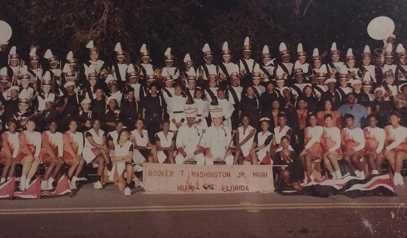 An undated photograph of a middle school marching band hangs in the hallway at Booker T. Washington High School
