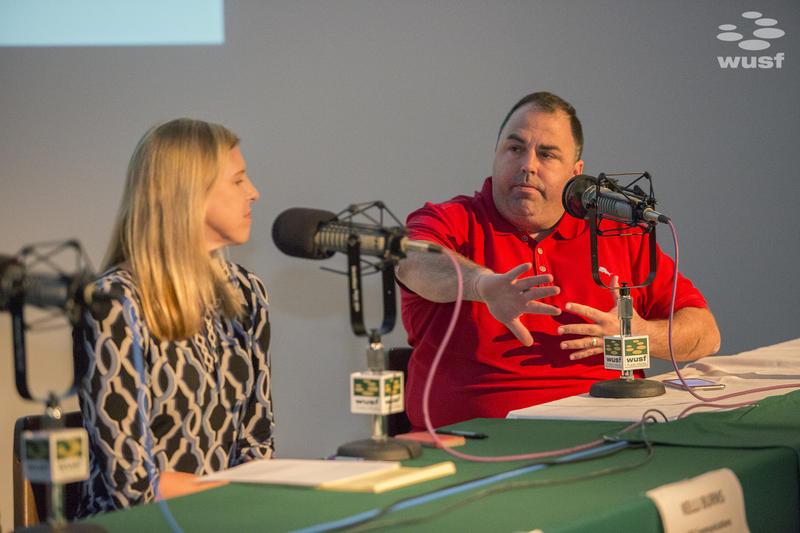 Panelists Peter Schorsch (r),  publisher of SaintPetersBlog.com, and USF Communications Professor Kelli Burns