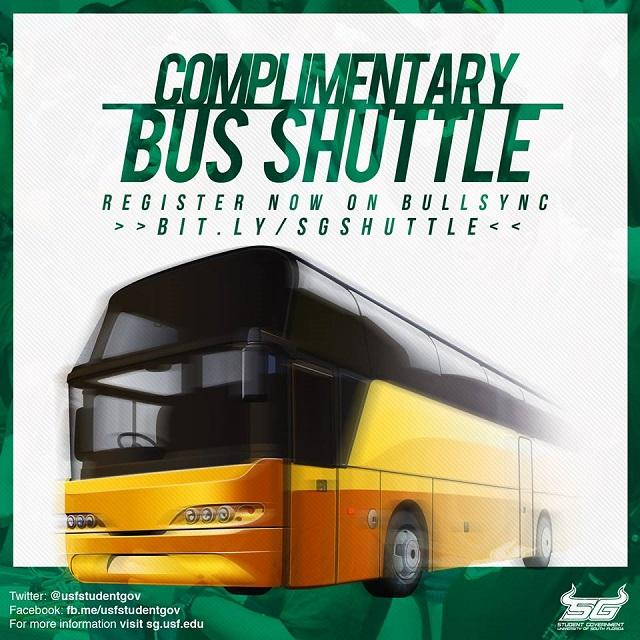 USF Student Government is offering complimentary bus rides between the Tampa campus and Tampa International airport for students traveling for Thanksgiving this week.