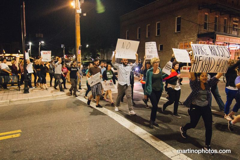 Protestors against President-elect Donald Trump march through Ybor City