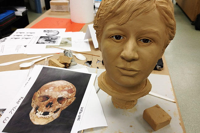 The skull of a 13 to 14 year old boy whose body was found in a pond near Daytona Beach in May 1972and Joe Mullins' reconstruction.