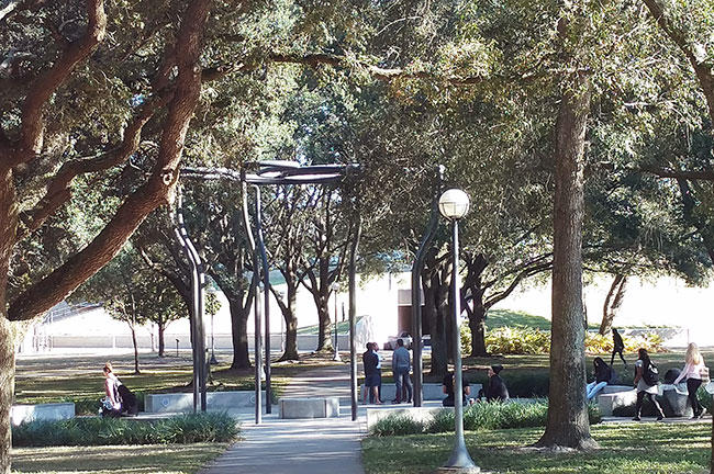 "Nancy Holt's ""Solar Rotary"" is located in a plaza between Cooper Hall and the Communication and Information Sciences Building on USF's Tampa campus."