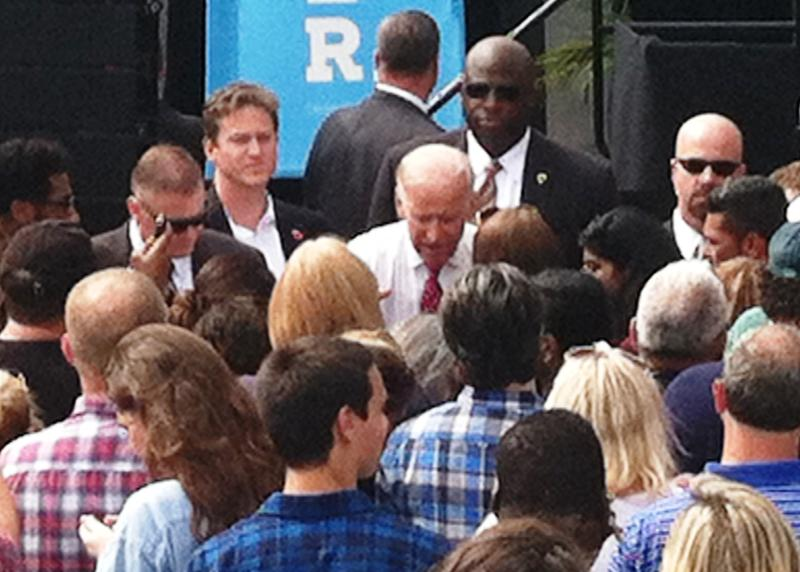 Vice President Joe Biden working the rope line after his 30 minute speech Wednesday rallying voters for Hillary Clinton in Tampa.