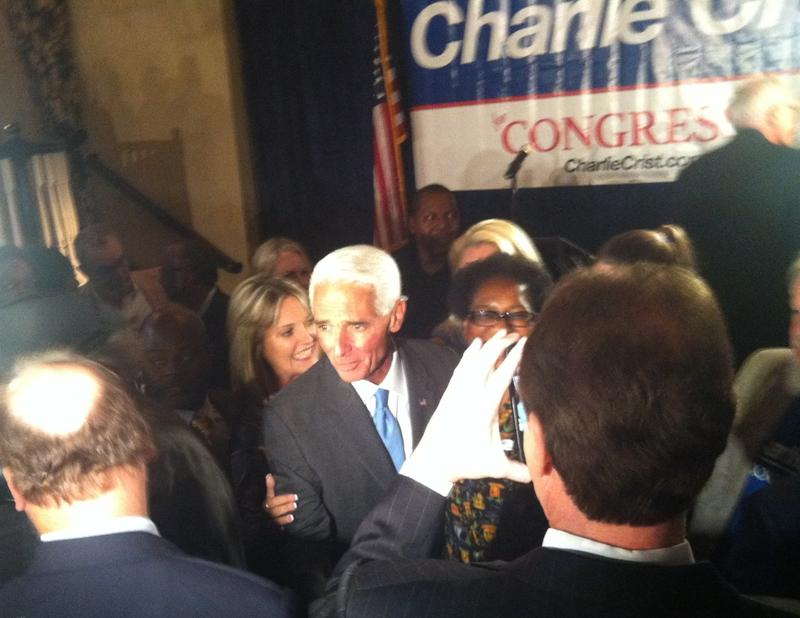 Charlie Crist mingles with the crowd after his victory speech