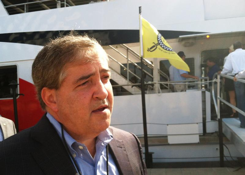 Lightning owner Jeff Vinik prepares to board the Cross-Bay Ferry for a trip to St. Petersburg.